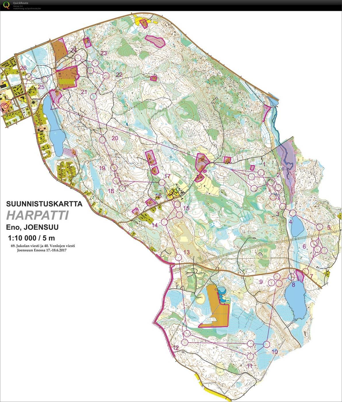 JoensuuJukola 3rd leg June 19th 2017 Orienteering Map from Atte