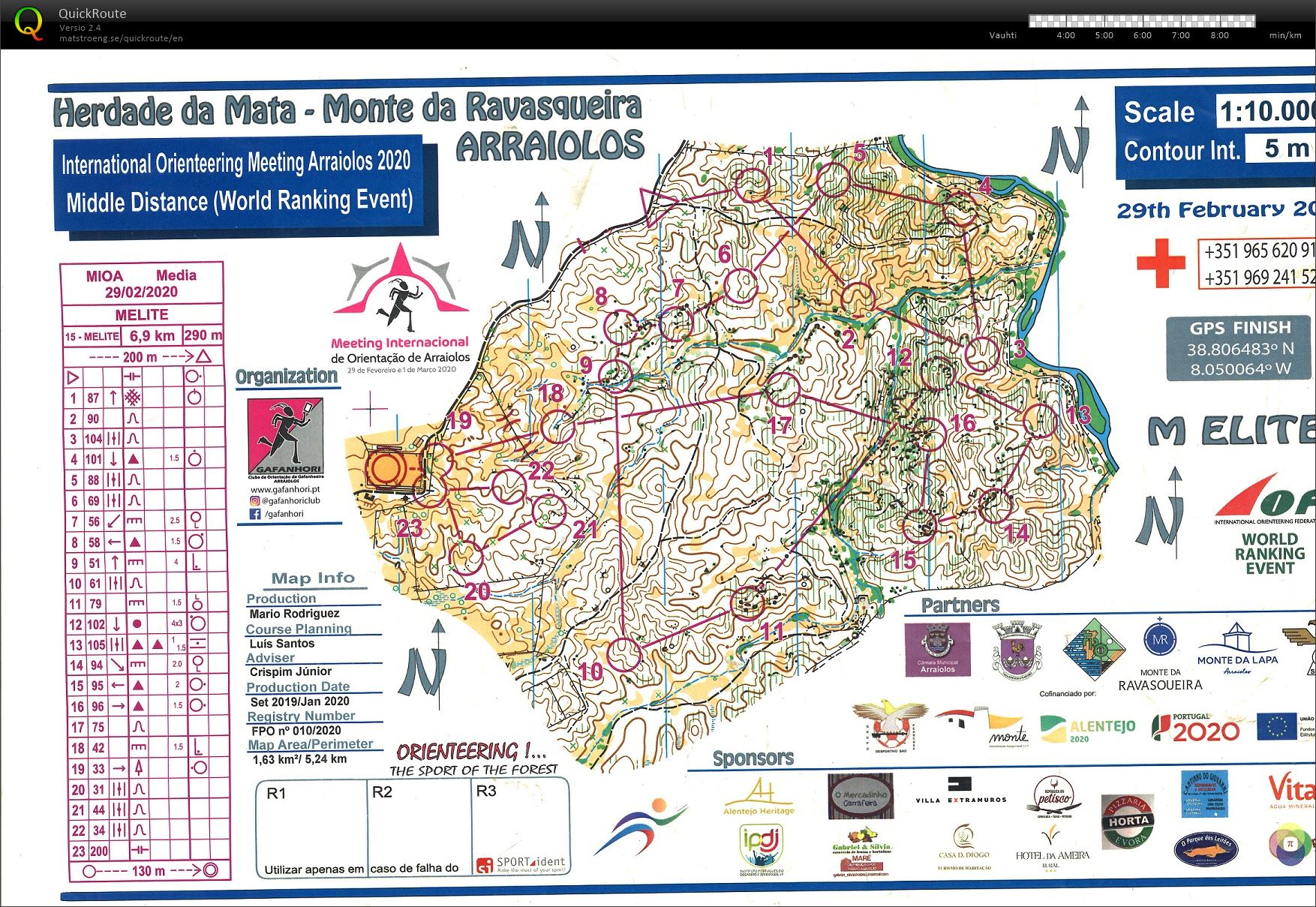 International Orienteering Meeting Arraiolos 2020- WRE middle MELITE (29/02/2020)